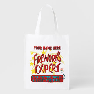 Funny 4th of July Independence Fireworks Expert Grocery Bag