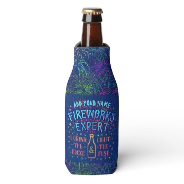 USA Themed Funny 4th of July Independence Fireworks Expert V2 Bottle Cooler