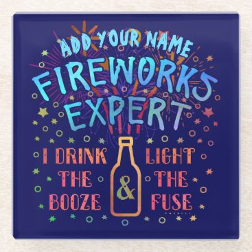 USA Themed Funny 4th of July Independence Fireworks Expert V2 Glass Coaster
