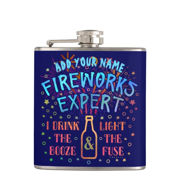Funny 4th of July Independence Fireworks Expert V2 Hip Flask