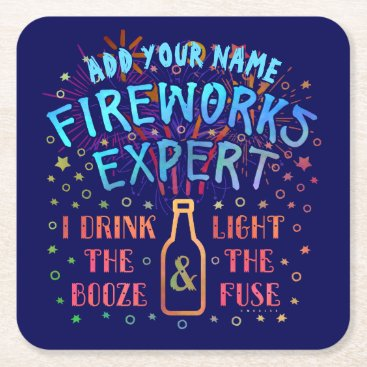 USA Themed Funny 4th of July Independence Fireworks Expert V2 Square Paper Coaster