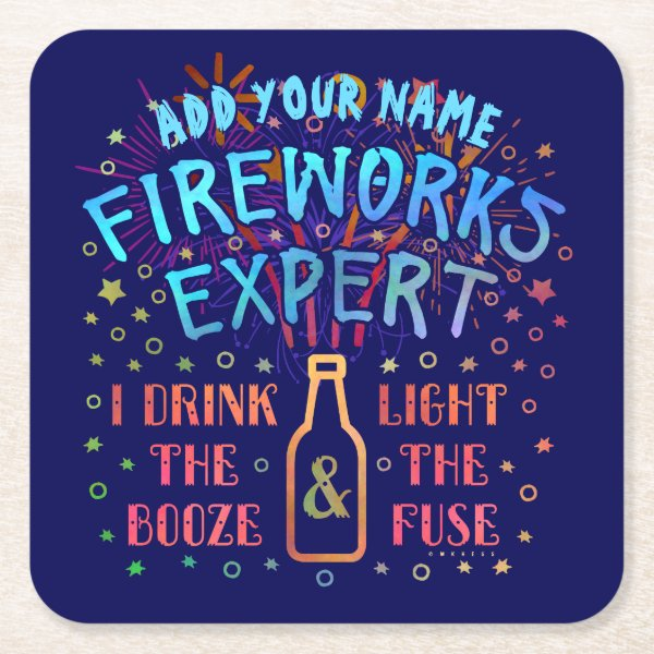 Funny 4th of July Independence Fireworks Expert V2 Square Paper Coaster