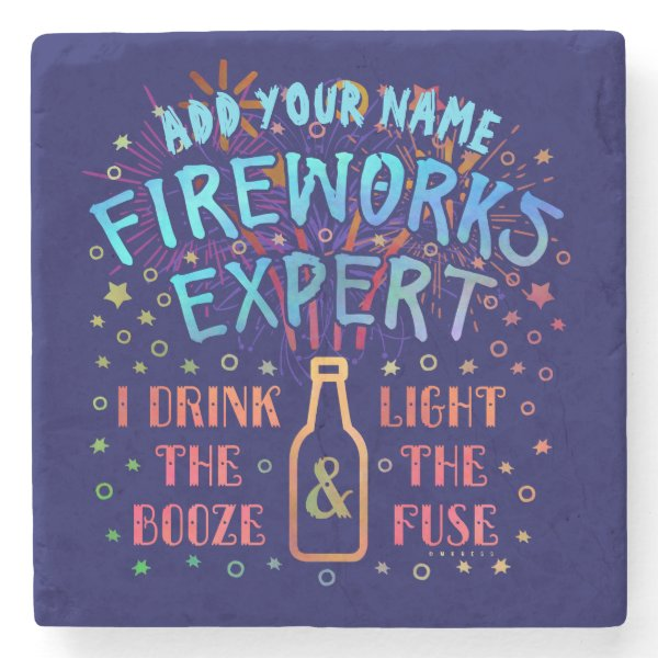Funny 4th of July Independence Fireworks Expert V2 Stone Coaster