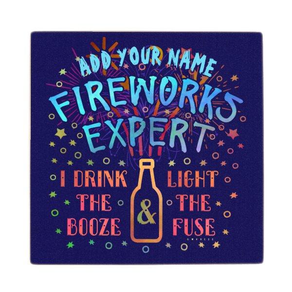 Funny 4th of July Independence Fireworks Expert V2 Wooden Coaster