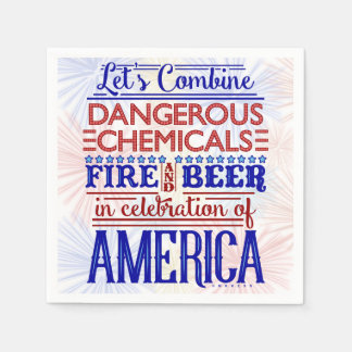 Funny 4th of July Party | Beer Fireworks Humor Paper Napkin