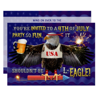 Funny 4th of July Party   Eagle Beer Fireworks Invitation