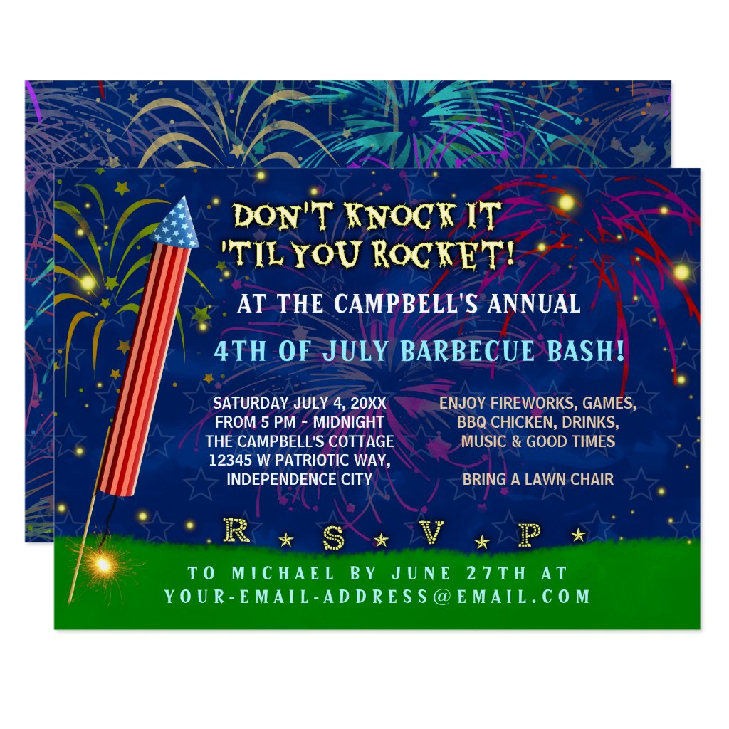 Funny 4th of July Party | Rocket Fireworks BBQ Card