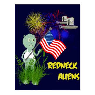 Funny 4th of July Redneck Aliens Postcard