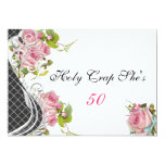 Funny 50th Birthday Invitation Elegant Pink Roses Invitations