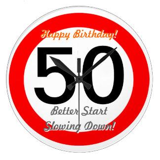 Funny 50th Birthday Joke 50 Road Sign Speed Limit Large Clock