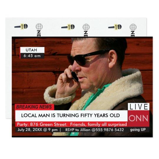 Funny 50th Birthday Mens Breaking News TV Graphic Invitation