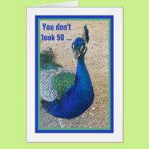 Funny 50th Birthday Peacock Card for Women