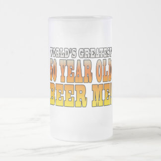 Funny 50th Birthdays : Worlds Greatest 50 Year Old Frosted Glass Beer Mug