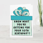 """Funny 50th or Any Age Over the Hill Birthday Card<br><div class=""""desc"""">Unfortunately we do get older each birthday. Or you can think of it as getting better. Our card front has a BIG GIFT with green, blue and white stripes and a coordinating bow mixing solids and patterns. Great for someone with a sense of humor about aging. For him or her,...</div>"""