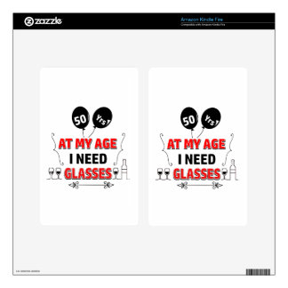 Funny 50th year birthday gift skins for kindle fire