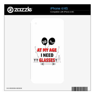 Funny 50th year birthday gift skins for the iPhone 4S