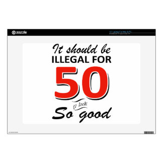 """Funny 50th year old birthday designs decal for 15"""" laptop"""