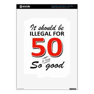 Funny 50th year old birthday designs decals for iPad 3
