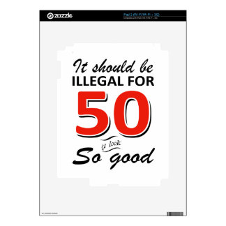 Funny 50th year old birthday designs skin for iPad 2