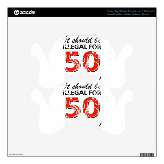 Funny 50th year old birthday designs skin for PS3 controller