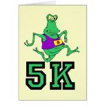 Funny 5K alien running Greeting Card