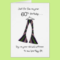 Funny 60th Birthday in Bell Bottoms Cards