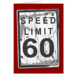 Funny 60th Birthday Speed Limit Thank You Notecard Greeting Cards