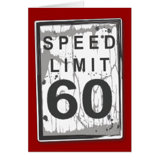 Funny 60th Birthday Speed Limit Thank You Notecard Stationery Note Card