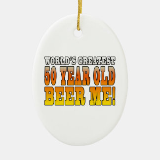 Funny 60th Birthdays : Worlds Greatest 60 Year Old Double-Sided Oval Ceramic Christmas Ornament