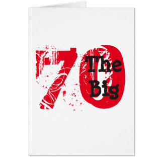 Funny 70th birthday, big red, black text on white. card