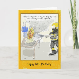 Funny 70th Birthday Card For Men Candles