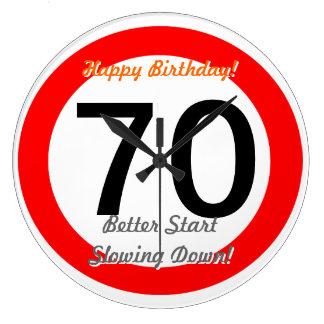 Funny 70th Birthday Joke 70 Road Sign Speed Limit Large Clock