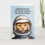 "Funny 70th Orbit Birthday Card<br><div class=""desc"">Funny 70th Birthday Greeting Card featuring a NASA era space cat message to 70 year olds</div>"