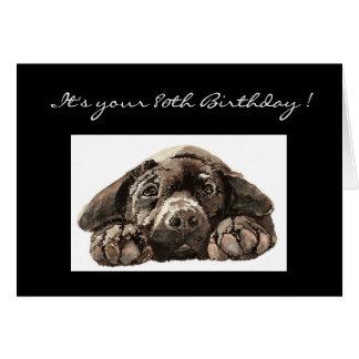 Funny 80th Birthday, Labrador Retriever Greeting Card