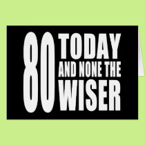 Funny 80th Birthdays : 80 Today and None the Wiser Card
