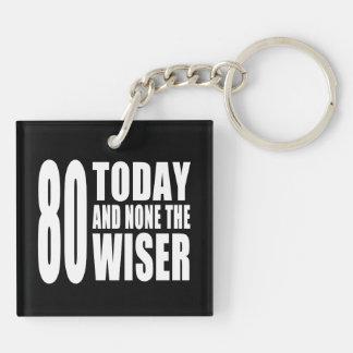 Funny 80th Birthdays : 80 Today and None the Wiser Keychain