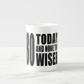 Funny 80th Birthdays : 80 Today and None the Wiser Bone China Mugs