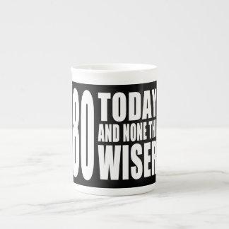 Funny 80th Birthdays : 80 Today and None the Wiser Bone China Mug