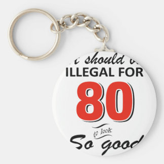Funny 80th year old birthday designs keychain