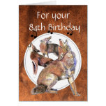 Funny  84th, Eighty Four,  Birthday Howling Coyote Greeting Card