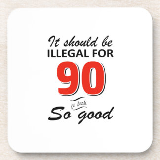 Funny 90th year old birthday designs coaster