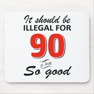 Funny 90th year old birthday designs mouse pad