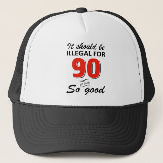 Funny 90th year old birthday designs trucker hat