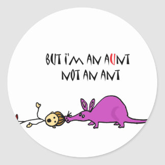 Funny Aardvark Eating Aunt not ant cartoon Classic Round Sticker