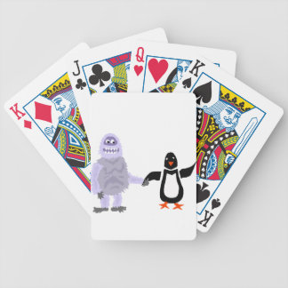 Funny Abominable Snowman and Penguin Love Art Bicycle Playing Cards