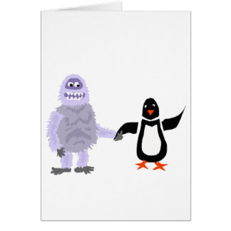 Funny Abominable Snowman and Penguin Love Art Card