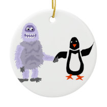 Funny Abominable Snowman and Penguin Love Art Ceramic Ornament