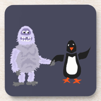Funny Abominable Snowman and Penguin Love Art Drink Coaster