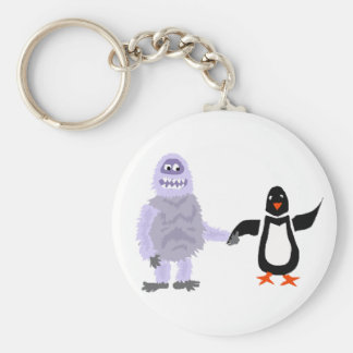 Funny Abominable Snowman and Penguin Love Art Keychain