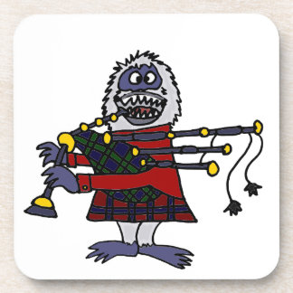 Funny Abominable Snowman Playing the Bagpipes Coaster